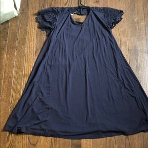 LOFT Navy Shift Dress with Lace Cap Sleeves
